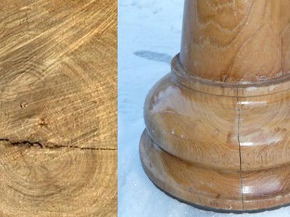 Risse im Holz und Veränderung der Holzstruktur