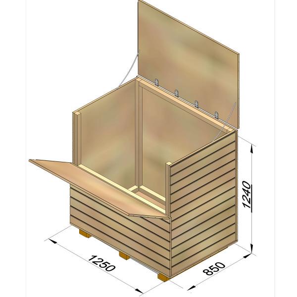 Holzkiste aus Lärchenholz für Schach mit Königshöhe 64 cm