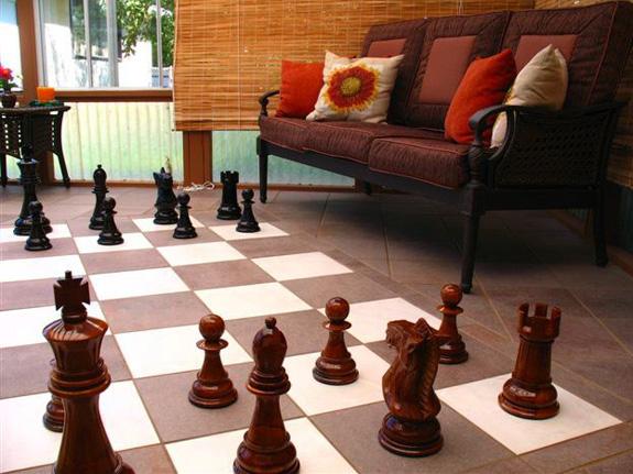 Ein Schachfeld aus Teppichplatten