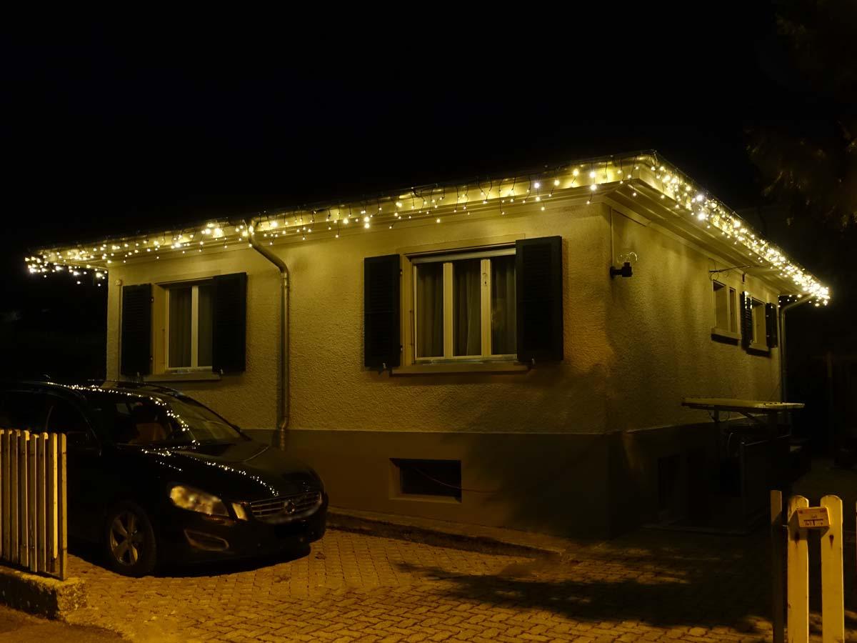 Dachkante mit Icicle Lichterketten Höhe 40 cm