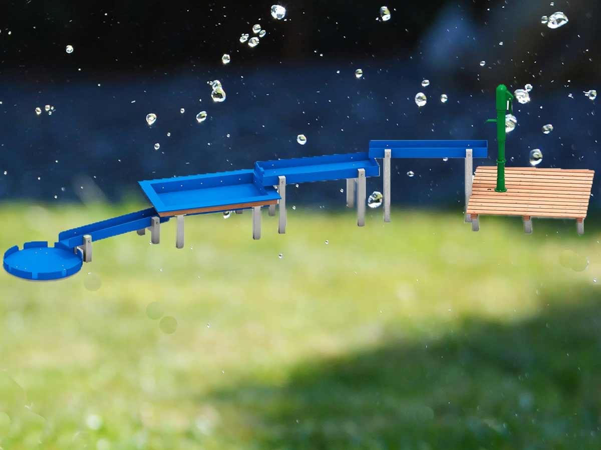 Wasserspielanlage Komination von Wasserrinnen