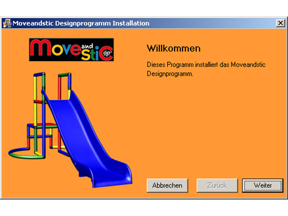 MoveAndStic 3-D Software Installation Schritt 1