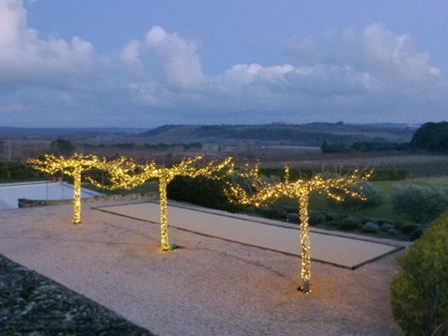 Ferienhaus mit beleuchtetetn Platanen mit System LED24