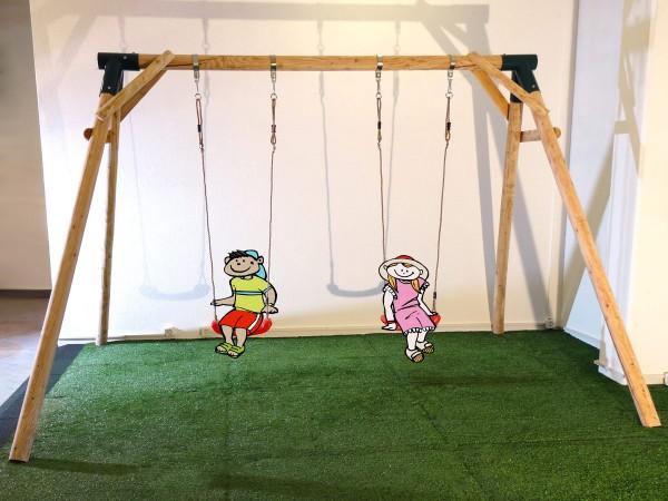 Schaukel APESA Lärchenholz 2 Platz, Höhe reduziert auf 215 cm ohne Sitze