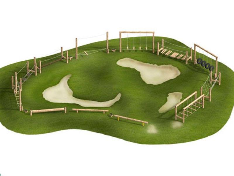 Safari-Parc aus Holz, für Schulsport Balanciergeräte super Idee für Pausenplatz