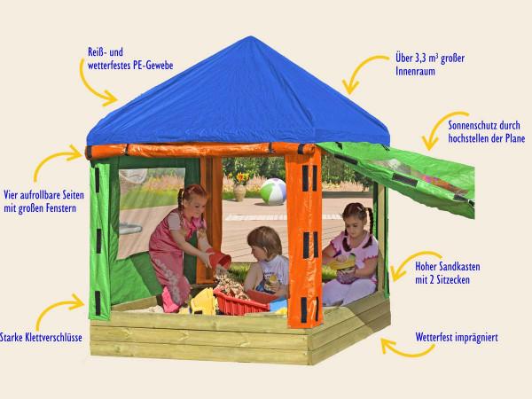 Sandkasten, Spielhaus, Spielpavillion, Stauraum
