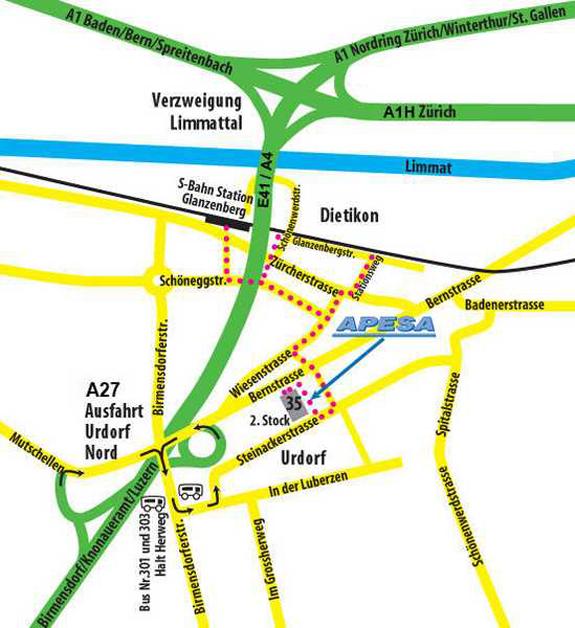 Rot gepunktete Linie ist der Gehweg ab Bahnhof Glanzenberg bis zur APESA