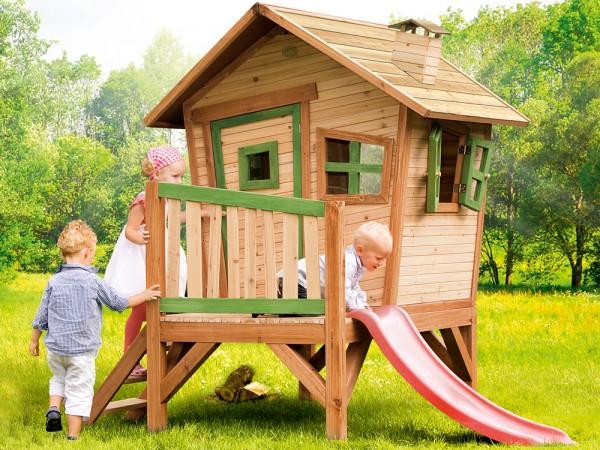 Holz-Spielhaus Robin von Axi, Stelzenhaus niedrig mit Rutsche