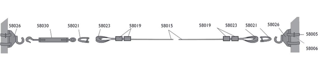 Kandelaberbeleuchtung Seilmontage mit Karabinerhaken