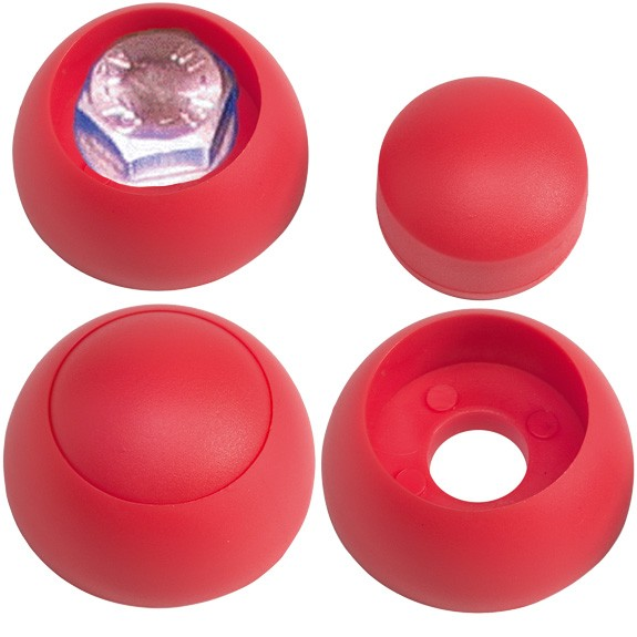 Schraubenabdeckung mit Kappe, rot für Schrauben M8 und M10