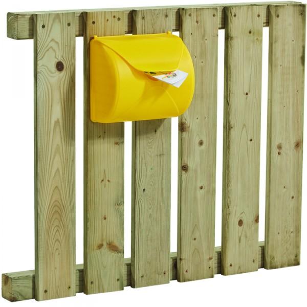 Briefkasten zum Anschrauben an Kinderspielgeräte gelb mit blauer Klappe