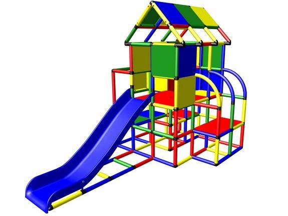 MoveAndStic M3004 Spielhaus mit Kletterturm und Rutsche