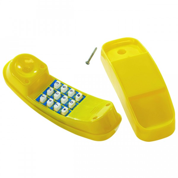 Spieltelefon dunkelgrün mit Zahlen und Montagehalterung