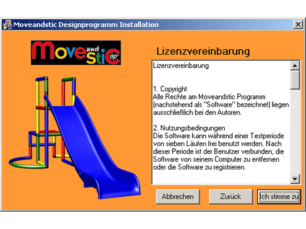 MoveAndStic 3-D Software Installation Schritt 2