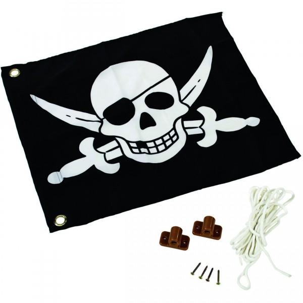 Piratenfahne 55 x 45 cm zur Montage an Spielgeräte mit Montageset