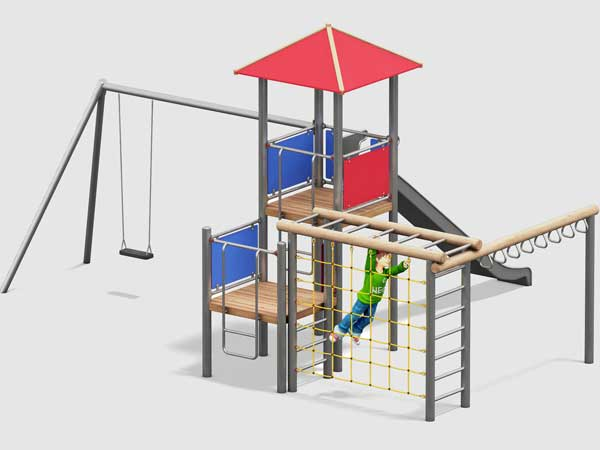 Spielturm mit angebauter Schaukel