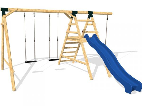 Schaukel APESA Lärchenholz 2 Platz, Podest, Rutschbahn, Verlängerung, Seil, ohne Sitze
