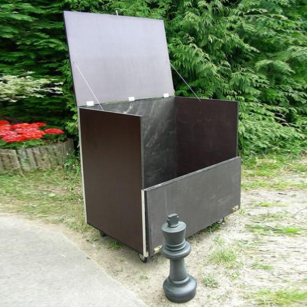 Holzkiste mit Räder für Schach mit Königshöhe 64 cm