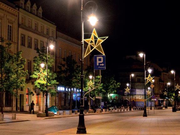 Kandelaberbeleuchtung, Strassenlaternen mit Sternen