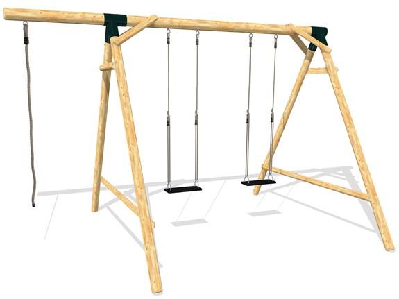 Schaukel APESA Lärchenholz 2 Platz, Verlängerungsarm und Seil, ohne Sitze