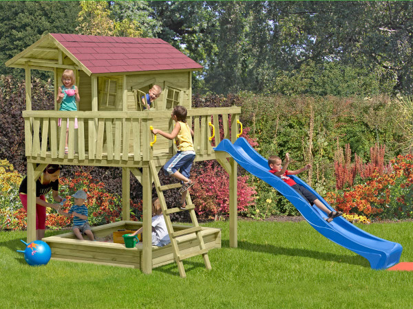 Kinderspielhaus Crazy Finn-Maxi mit Sandkasten, Kiefer, L226, B240, H300cm
