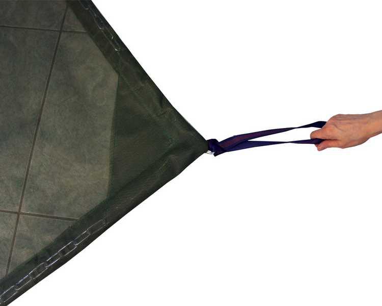 Sandkastennetz mit verstärkten Ecken und Zuglaschen