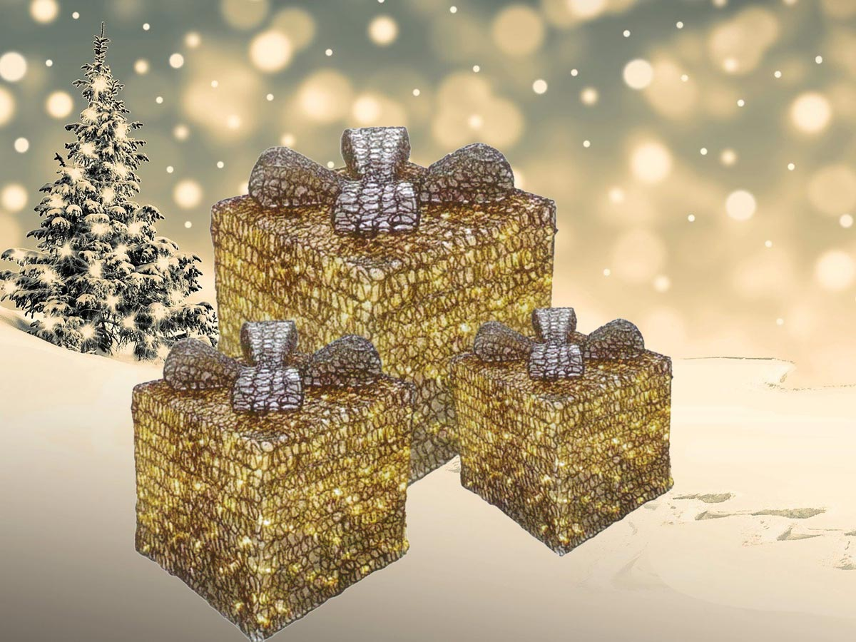 Beleuchtete LED Geschenkspakete