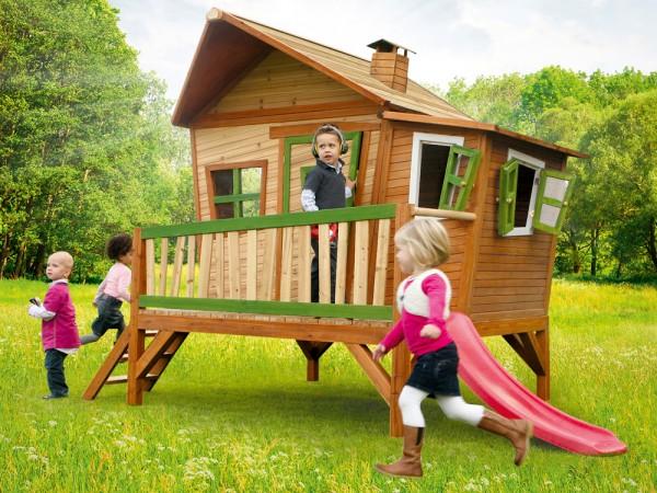 Holz-Spielhaus Emma von Axi, Stelzenhaus niedrig mit Rutsche