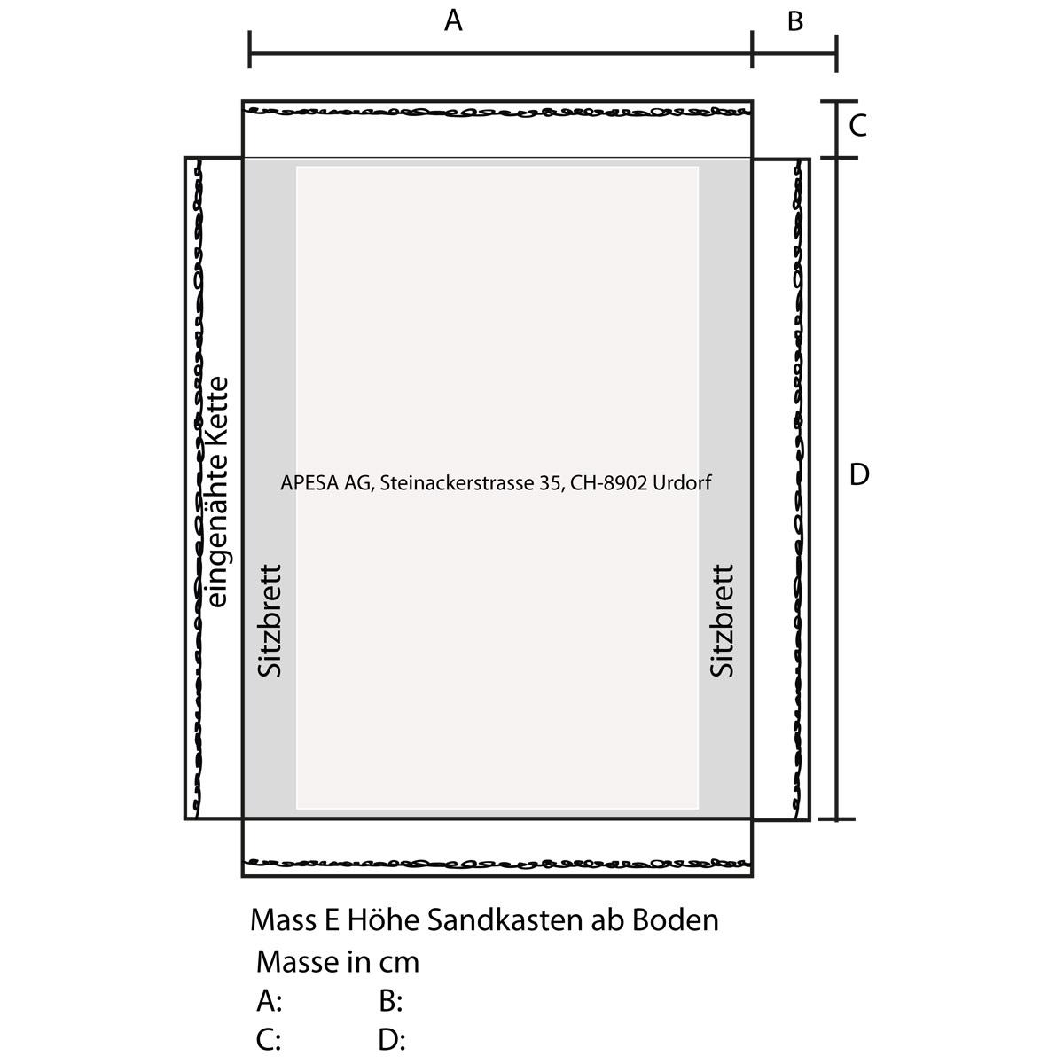 APESA Profisandkastenabdeckung Vorlage rechteckiger Sandkasten