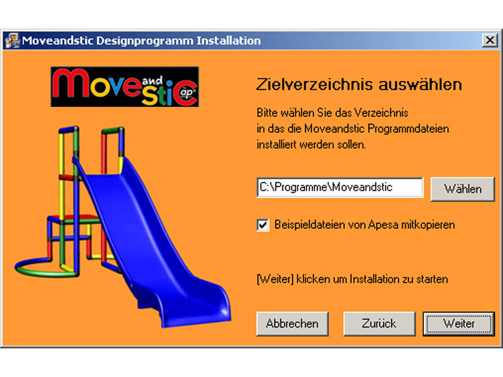 MoveAndStic 3-D Software Installation Schritt 3