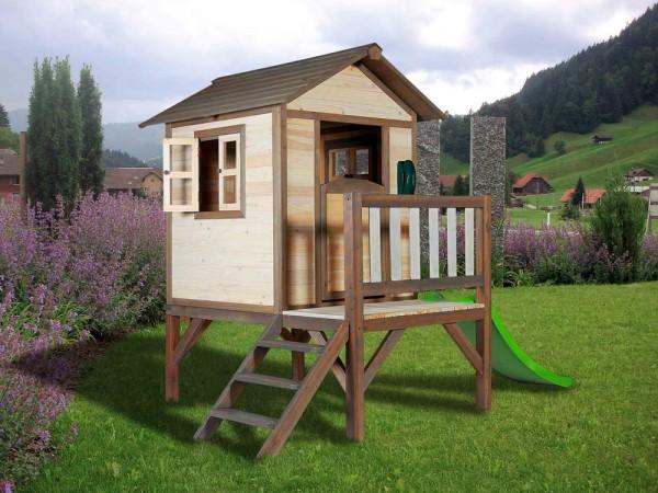 Holz-Spielhaus Sunny Lodge mit Podest und Rutsche von Axi