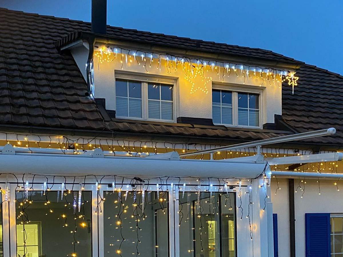 Kombination kaltweisses Licht mit warmweissen Lichterketten vom System LED24