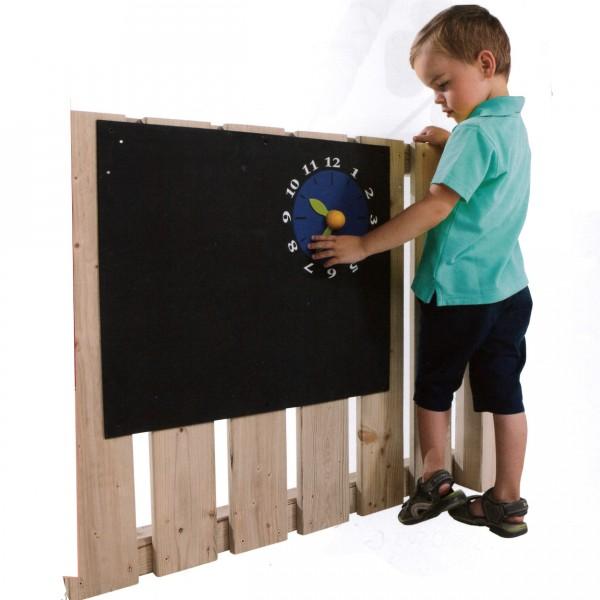Kreidetafel mit Uhr zur Montage an Spielgeräten oder Wand