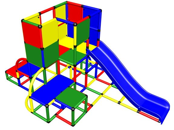 MoveAndStic M3044 Spielturm mit Rutsche und Sicherheits-Spielwänden extrahoch