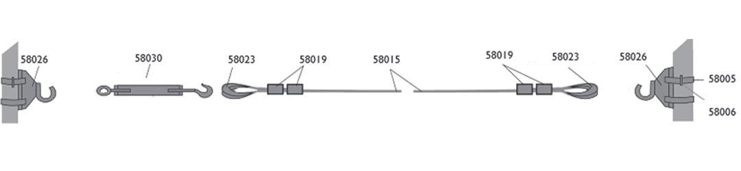Kandelaberbeleuchtung Seilmontage ohne Karabinerhaken