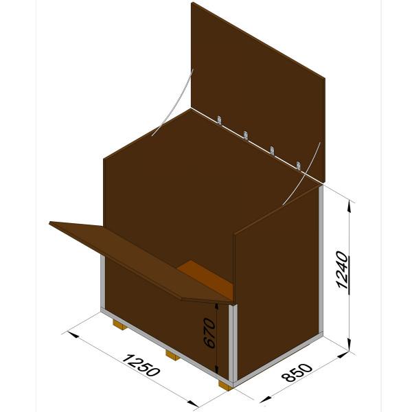 Holzkiste mit Siebdruckplatten für Schach mit Königshöhe 64 cm