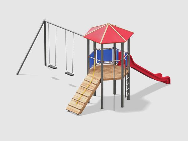 Kinderspielturm mit angebauter Schaukel