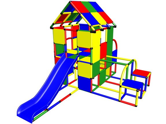 MoveAndStic M3003 Spielhaus gross mit Rutsche und Turnbarren