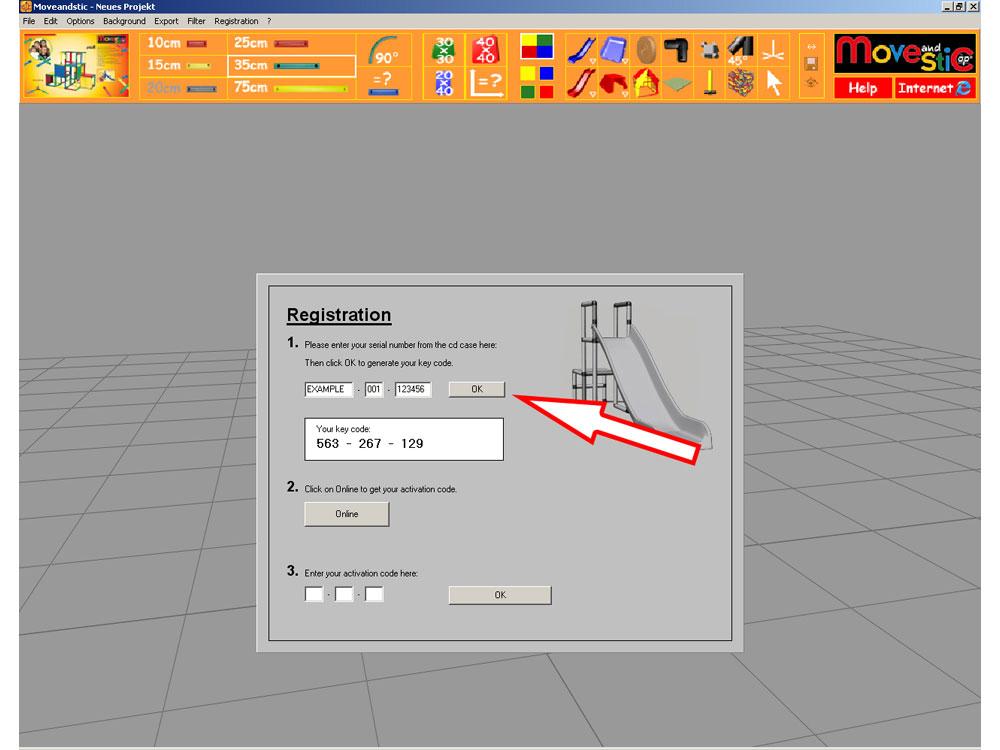MoveAndStic 3-D Software Registrierung Schritt 1