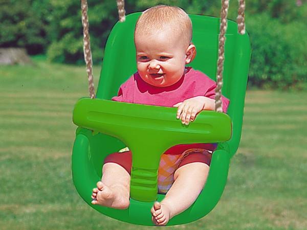 Schaukelsitz mit hoher Rückenlehne grün, zwei Sitze in einem
