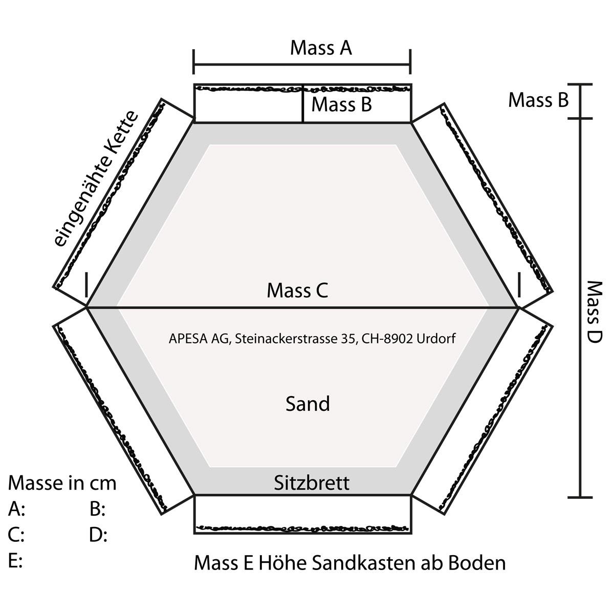 APESA Profisandkastenabdeckung Vorlage 6-eckiger Sandkasten